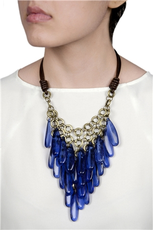 Electric Blue Cracked Glass Bead Effect Chandelier Necklace