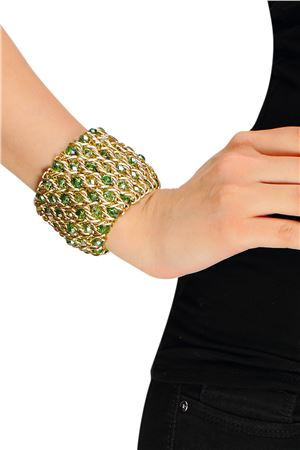 Green Apple Glass Beads Cuff Bracelet