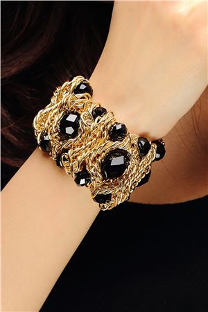 Black Magic Glass Beads Gold Links Bracelet