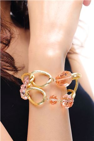The Woven Blush Pink Crystal Bracelet