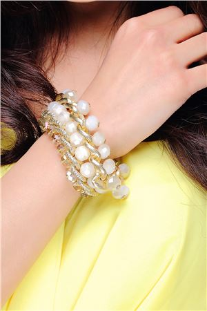 Spunky White Glass Beads Statement Bracelet