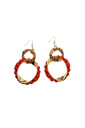 Merlot Interlocked Loops Resin Red Earrings