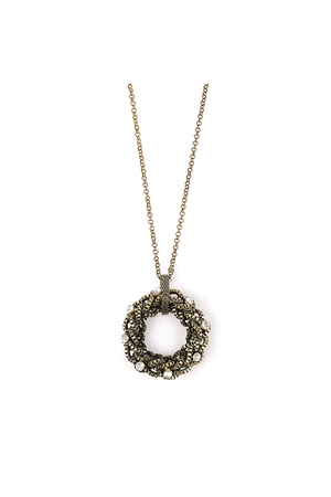 Interwined Antique Gold Diamante Pendant Necklace