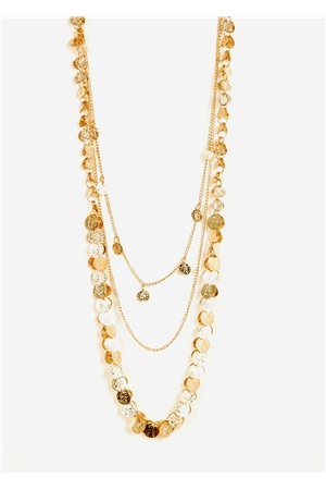Gold Shimmer Coins Layered Necklace
