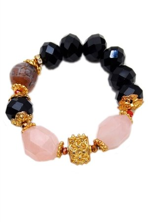 Rose Quartz Gold Crystal Bracelet