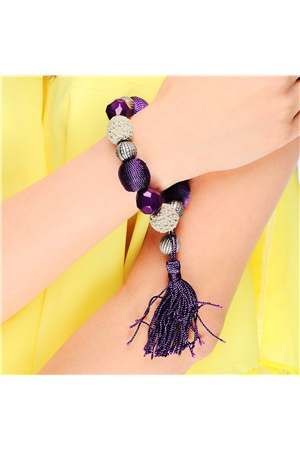 Bead And Tassel Crochet Bracelet