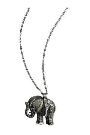 Silver Elephant Diamante Pendant Necklace