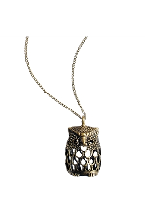Owl Dull Gold Pendant Necklace