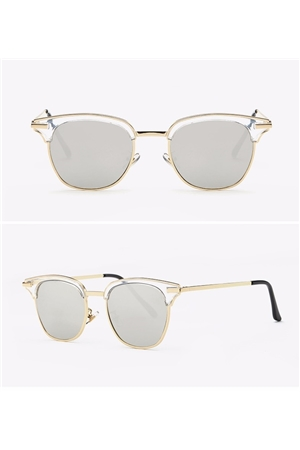 Silver Semi Rimless Club Master Sunglasses