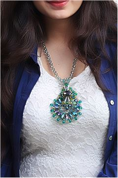 The Aurora Amulet Green Crystal Pendant Necklace