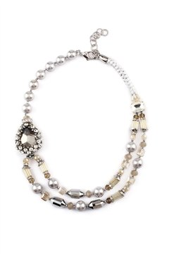 Sunset In Havana Crystal Pearl Layered Necklace