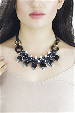 Midnight In Berlin Black Crystal Necklace
