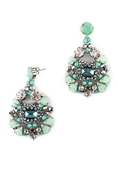 The Cali Coast Turquoise Crystal Statement Earrings