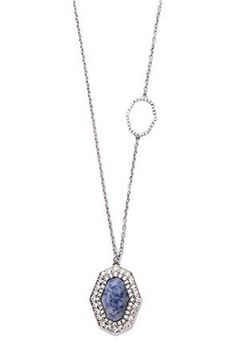 Neptune Pave Blue Stone Diamante Pendant Necklace