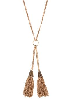 The Cressida Double Tassel Pendant Gold Necklace