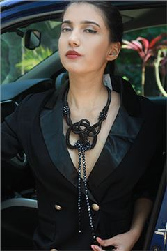 Black Swan Crystal Knot Statement Necklace