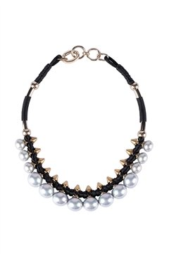 Grey Pearl Spires Collar Necklace
