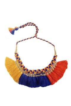 Hand-Braided Yellow Blue & Orange Tassel Necklace