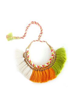Orange White Green Braided Thread Tassel Necklace