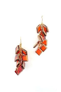Merlot Gold Glass Earring