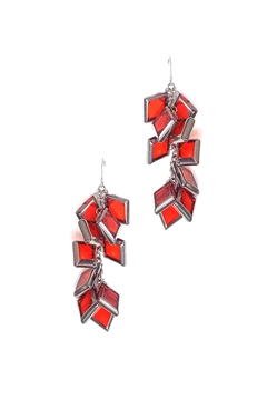 Muntin Muse Orange Silver Glass Square Earring