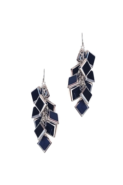 Muntin Muse Black Silver Glass Square Earring