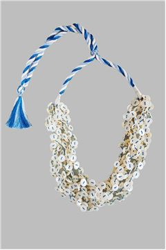 Mother Of Pearl Button Blue Tassel Necklace