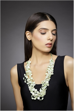 Mother Of Pearl Button Green Tassel Necklace