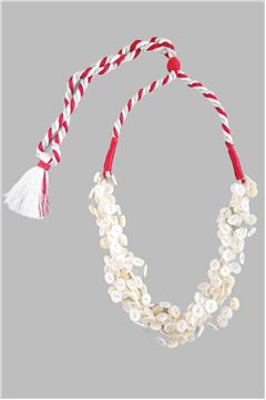 Mother Of Pearl Button Red & Silver Tassel Necklace