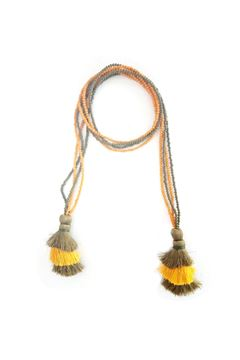 Multi-Way Yellow & Green Tassel & Bead Necklace