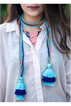 Multi-Way Shaded Blue Orange Tassel Glass Bead Open Necklace