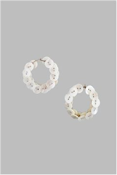 Mother of Pearl Button Silver Hoops