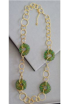 Milena Green Glass Gold Rings Long Necklace