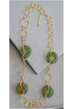 Joselyn Green Glass Gold Rings Long Necklace