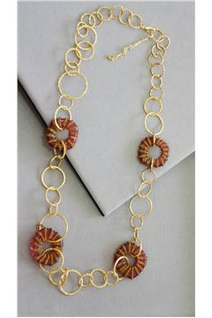 Kiera Red Glass Gold Rings Long Necklace