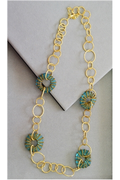 Emory Blue Glass Gold Rings Long Necklace