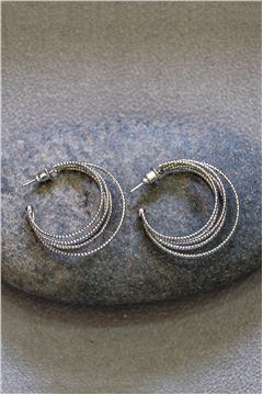 Evelyn Silver Hoop Earrings