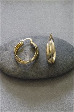 Nicolette Interlocked Gold Hoops