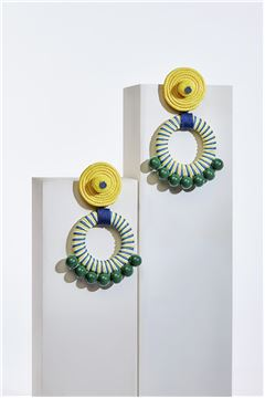 Caroline Spiral Bead Hoop Earrings