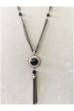 Heirloom Black Stone Diamante Pendant Tassel Necklace