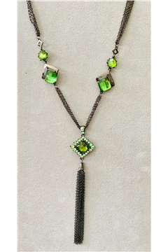 Green Gemstone Tassel Necklace