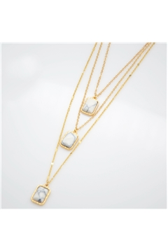 White Square Stoned Layered Delicate Pendant Necklace
