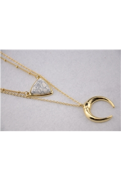 Horse Shoe Triangle Charm Layered White Pendant Necklace
