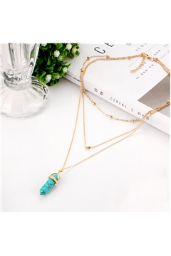 Turquoise Spearhead Stone Heart Charm Pendant Layered Necklace