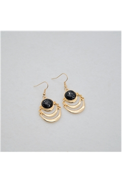 Black Marble Stone Gold Layered Drop Earrings
