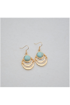 Turquoise Marble Layered Round Earrings