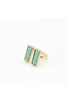 Twin Turquoise Bar Marble Ring
