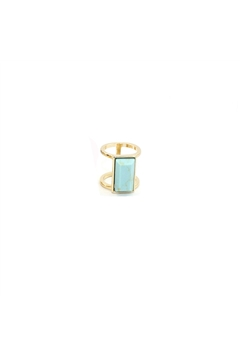 Turquoise Stone Marble Bar Gold Ring