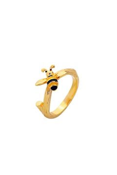 Gold Bumble Bee Charm Ring