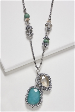 Turquoise Crystal Pendant Long Necklace